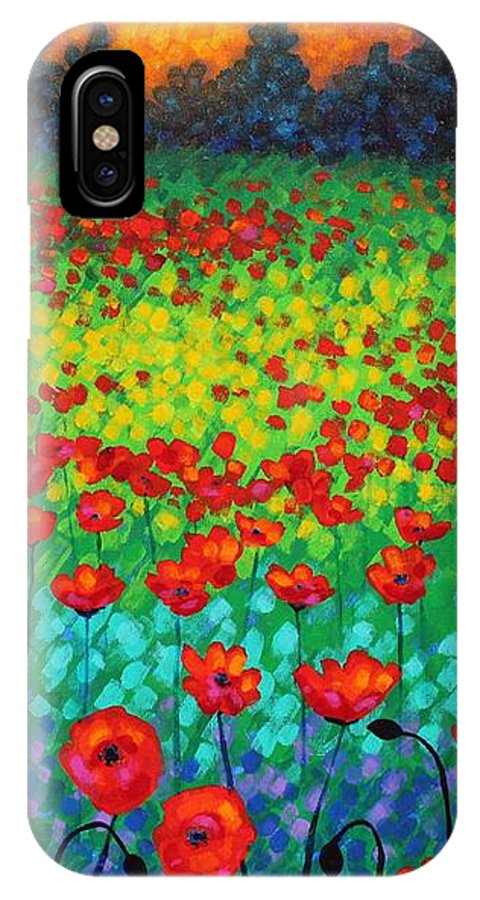 Acrylic IPhone X / XS Case featuring the painting Evening Poppies by John Nolan