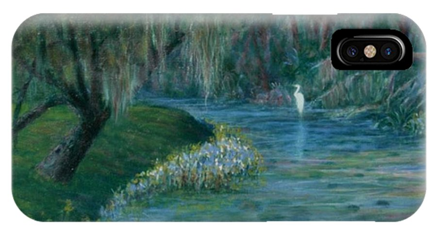 Low Country; Egrets; Lily Pads IPhone X Case featuring the painting Evening Shadows by Ben Kiger