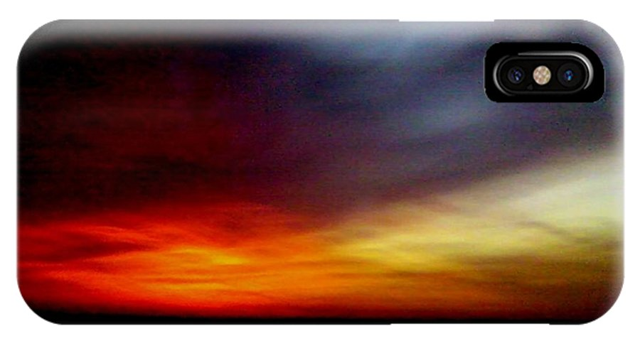 Sky Clouds Evening Burnt Red Blue IPhone X Case featuring the photograph Evening Sky 6 Burnt Sky by Cindy New