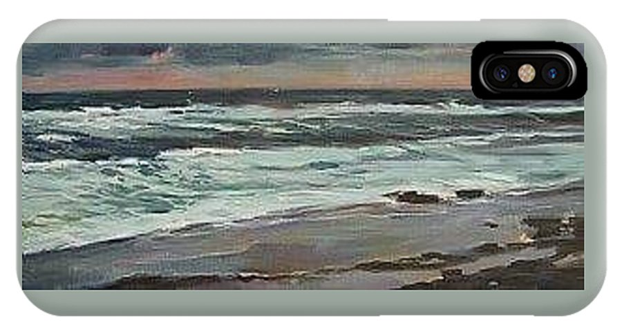 Evening Storm On The Coast IPhone X Case featuring the painting Evening Storm by Lisa McKnett