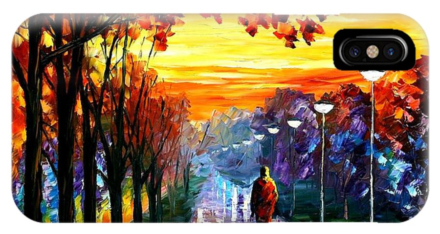 Afremov IPhone X Case featuring the painting Evening Stroll by Leonid Afremov