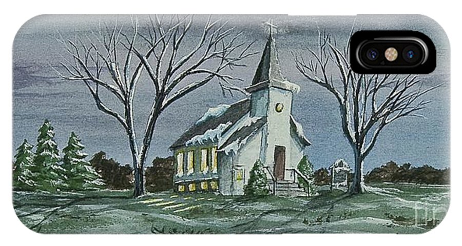 Country Church Painting IPhone X Case featuring the painting Evening Worship In Winter by Charlotte Blanchard