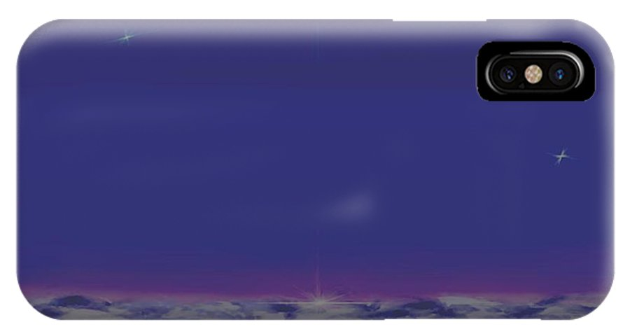 Late Evening.violet Dark Sky.rest.little Stars.last Ray Of Sun.sea.waves.silence. Birds.quiet. IPhone X Case featuring the digital art Evening.birds by Dr Loifer Vladimir