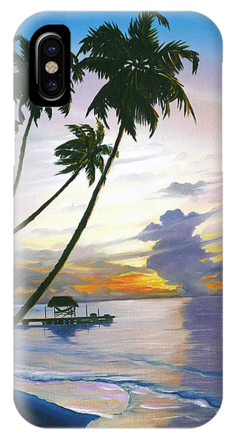 Ocean Painting Seascape Painting Beach Painting Sunset Painting Tropical Painting Tropical Painting Palm Tree Painting Tobago Painting Caribbean Painting Original Oil Of The Sun Setting Over Pigeon Point Tobago IPhone X Case featuring the painting Eventide Tobago by Karin Dawn Kelshall- Best