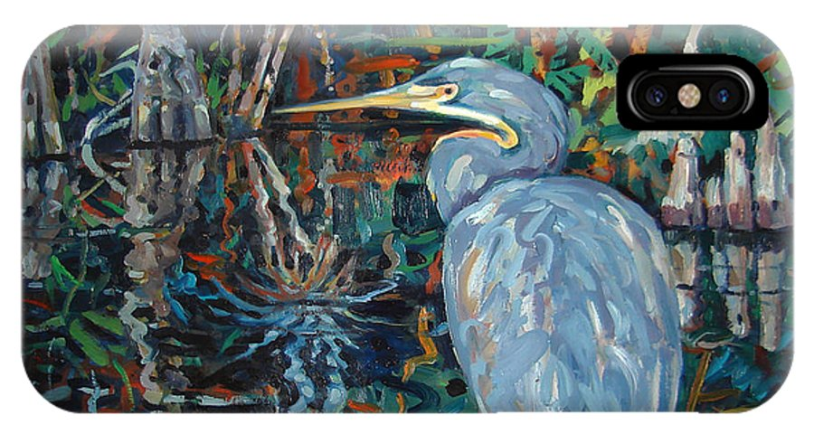 Blue Herron IPhone X Case featuring the painting Everglades by Donald Maier