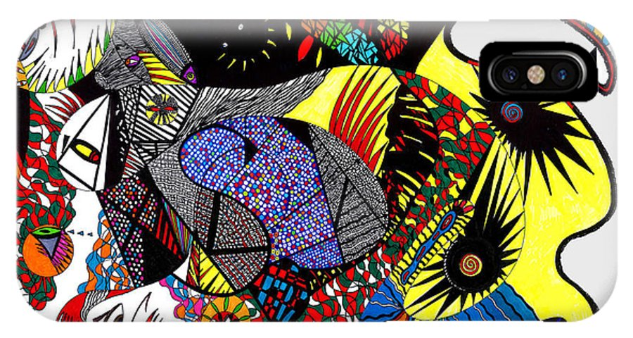 Psychedelic IPhone Case featuring the painting Evil Born by Safak Tulga
