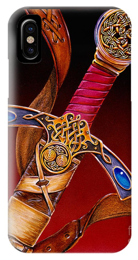 Swords IPhone X Case featuring the mixed media Excalibur by Melissa A Benson