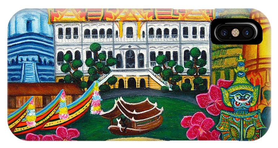 Bangkok IPhone X Case featuring the painting Exotic Bangkok by Lisa Lorenz