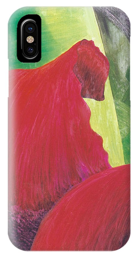 Red IPhone Case featuring the painting Expectations by Christina Rahm Galanis