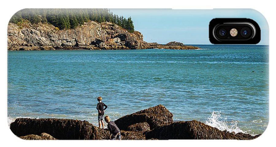 Exploring IPhone X Case featuring the photograph Exploring Rocks At Sand Beach by Faith Harron Boudreau