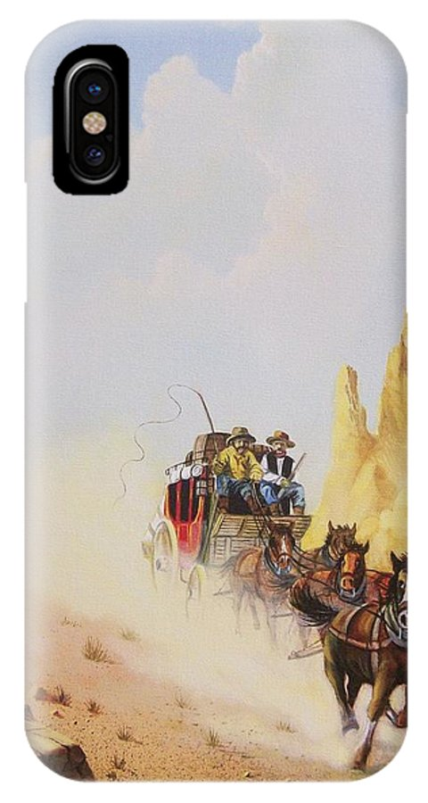 Western IPhone X Case featuring the painting Express Run by Don Griffiths