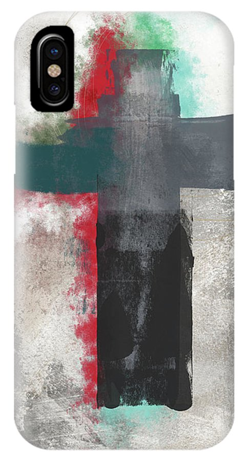 Cross IPhone X Case featuring the mixed media Expressionist Cross 4- Art By Linda Woods by Linda Woods