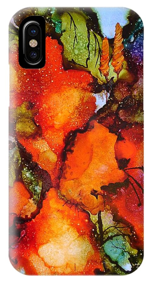 Orange IPhone X Case featuring the painting Exuberance by Susan Kubes