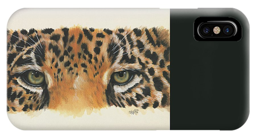 Jaguar IPhone X Case featuring the painting Eye-catching Jaguar by Barbara Keith