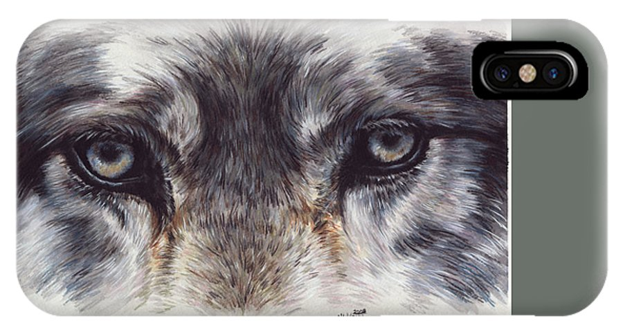 Wolf IPhone X Case featuring the painting Eye-catching Wolf by Barbara Keith