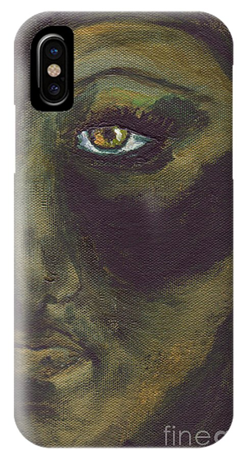 Painting IPhone X Case featuring the painting Eye Of Ivy by Shelley Jones