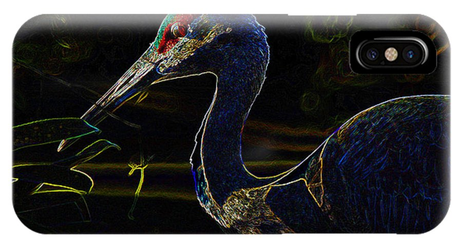Bird IPhone X Case featuring the painting Eye Of The Crane by David Lee Thompson