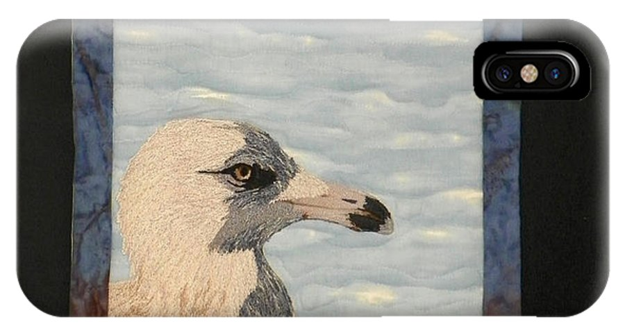 Birds IPhone X Case featuring the tapestry - textile Eye Of The Gull by Jenny Williams