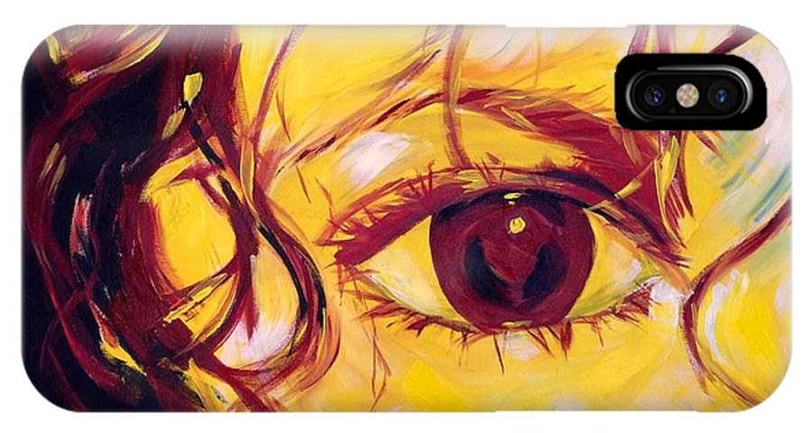 Portrait IPhone X Case featuring the painting Eye of the Tiger by Judy Swerlick