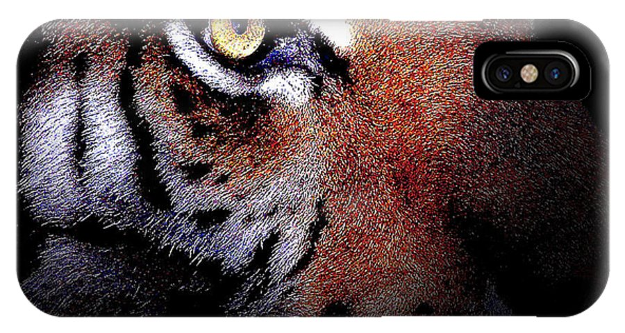Tiger IPhone X Case featuring the digital art Eye Of The Tiger by Wingsdomain Art and Photography