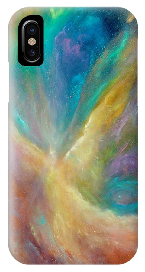 Celestial IPhone X Case featuring the painting Eye Of The Universe by Sally Seago