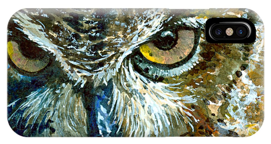 Owls IPhone X Case featuring the painting Eyes of Owls 16 Shirt by John D Benson