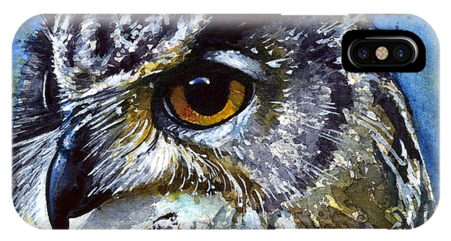 Owls IPhone Case featuring the painting Eyes Of Owls No.25 by John D Benson