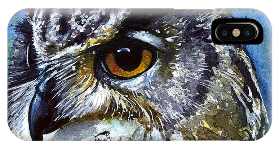 Owls IPhone X Case featuring the painting Eyes of Owls No.25 by John D Benson