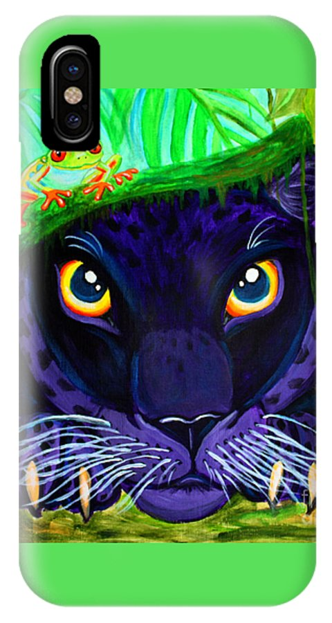 Black Panther IPhone X Case featuring the painting Eyes Of The Rainforest by Nick Gustafson