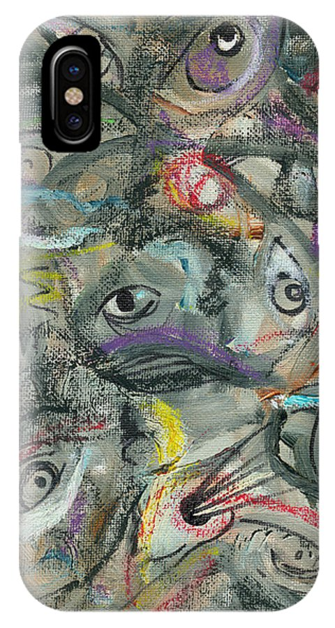 Eyes IPhone X / XS Case featuring the painting Eyescape by Jorge Delara