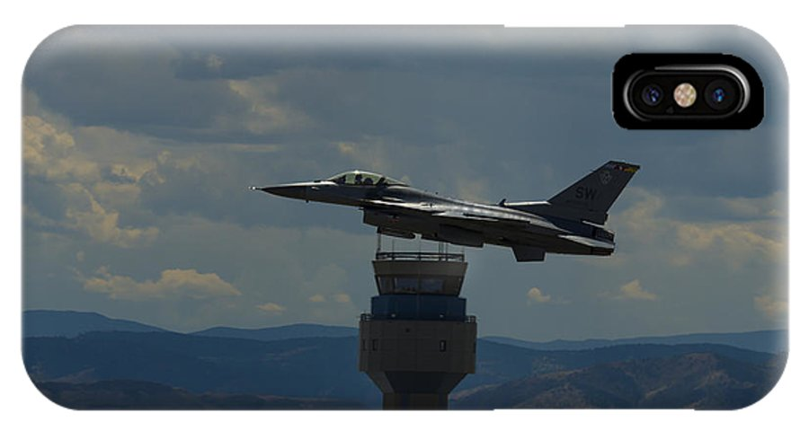 IPhone X / XS Case featuring the photograph F-16 And Tower by Brian Jordan