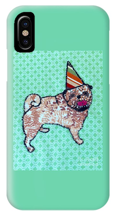 IPhone X Case featuring the tapestry - textile Fabric Pug by Purely Pugs Design