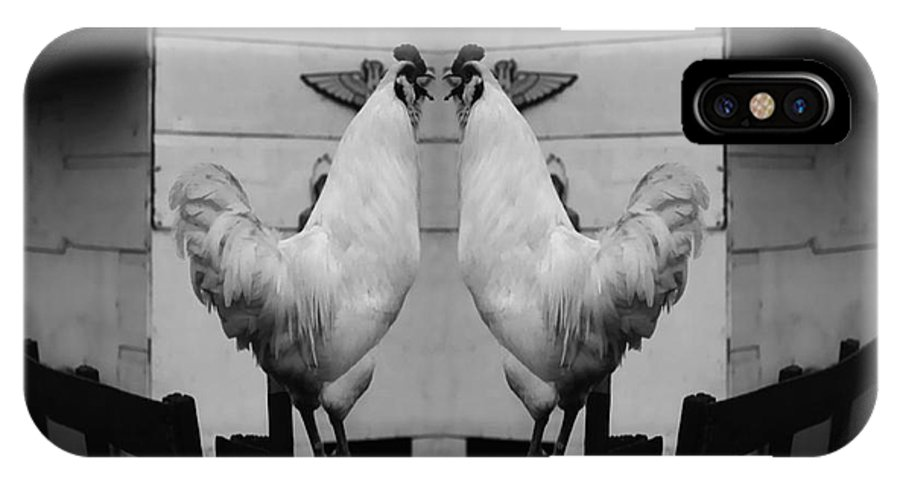 Rooster IPhone X Case featuring the photograph Face Off by Peter Piatt