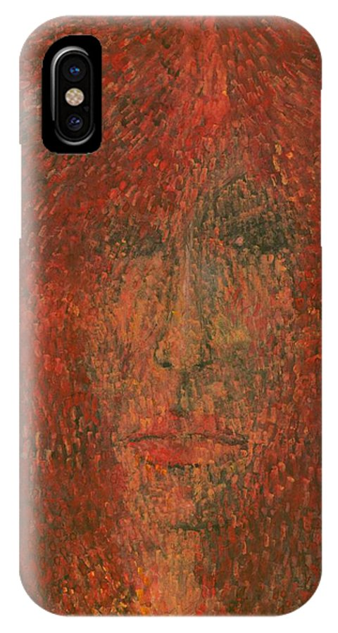 Colour IPhone X Case featuring the painting Face by Wojtek Kowalski