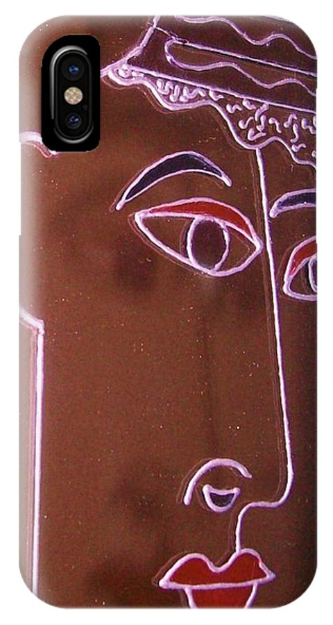 Faces IPhone X Case featuring the painting Faces And Alphabets by Sylvia Hanna Dahdal