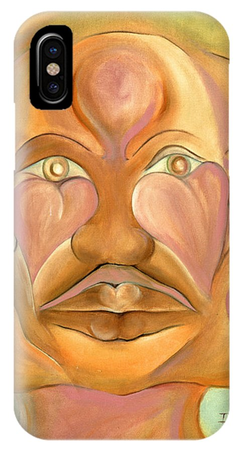 Human IPhone X / XS Case featuring the painting Faces Of Copulation by Ikahl Beckford