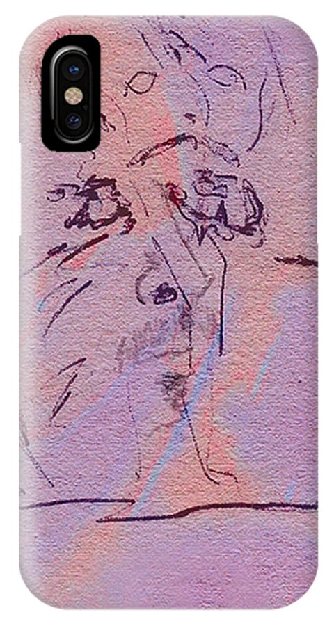 Abstract IPhone X Case featuring the mixed media Faces Of Trivia by Steve Karol