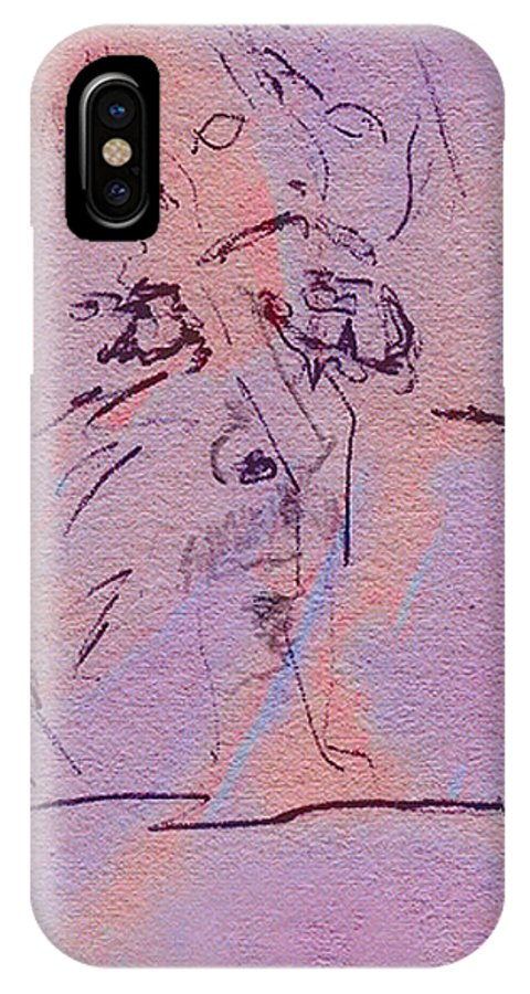 Abstract IPhone X / XS Case featuring the mixed media Faces Of Trivia by Steve Karol