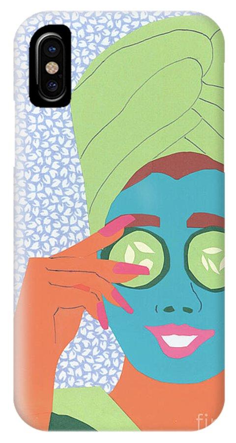 Face IPhone X Case featuring the mixed media Facial Masque by Debra Bretton Robinson