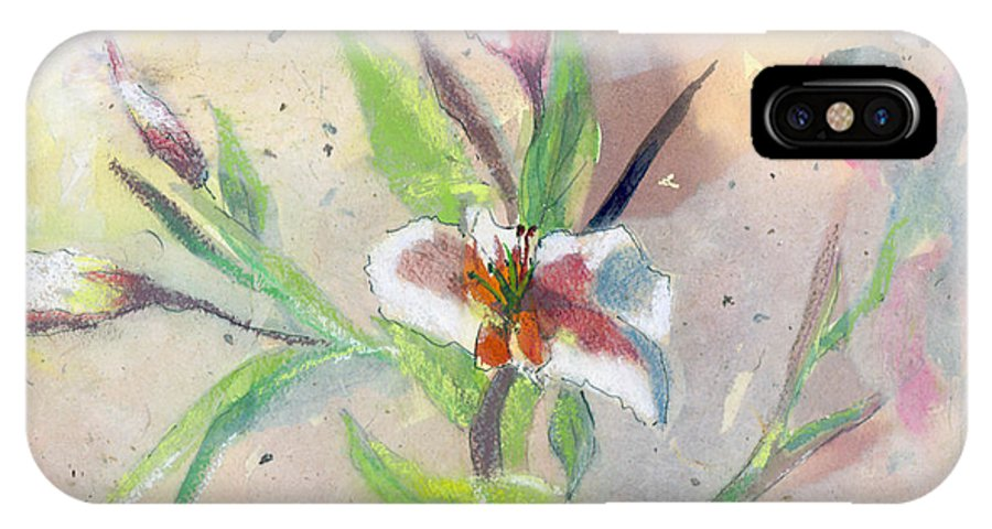 Flower IPhone X Case featuring the painting Faded Lilies by Arline Wagner
