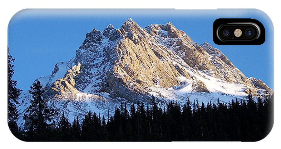Scenic IPhone X Case featuring the photograph Fading Afternoon Sun Illuminates Mountain Peak by Greg Hammond