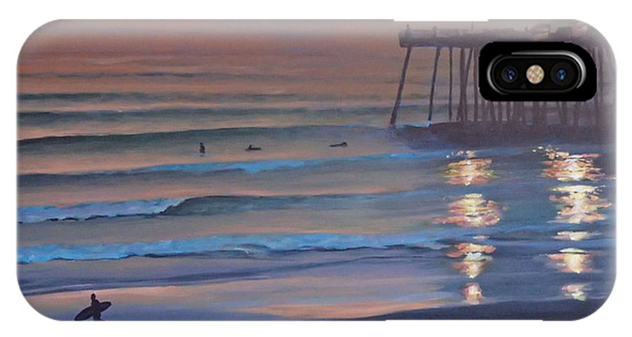Beach IPhone X Case featuring the painting Fading Light by Philip Fleischer