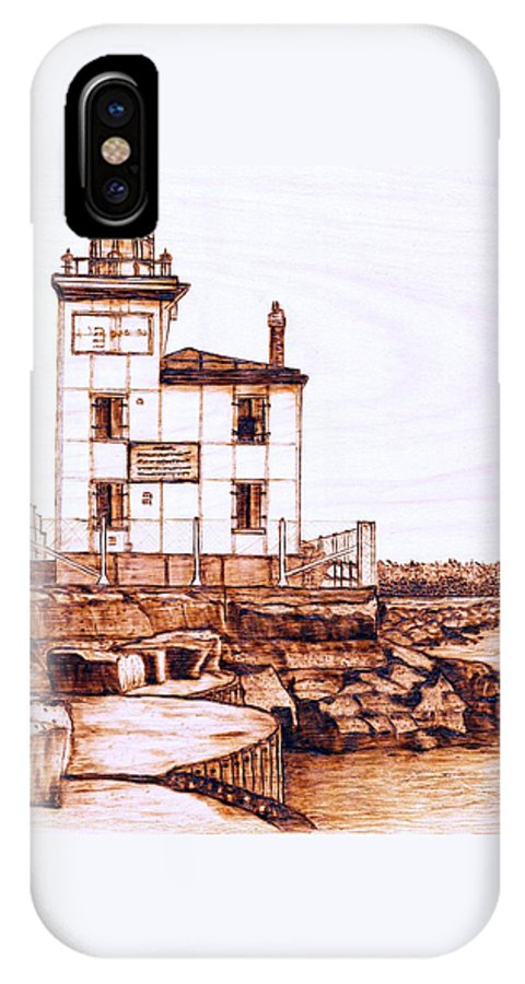 Lighthouse IPhone X Case featuring the pyrography Fair Port Harbor by Danette Smith