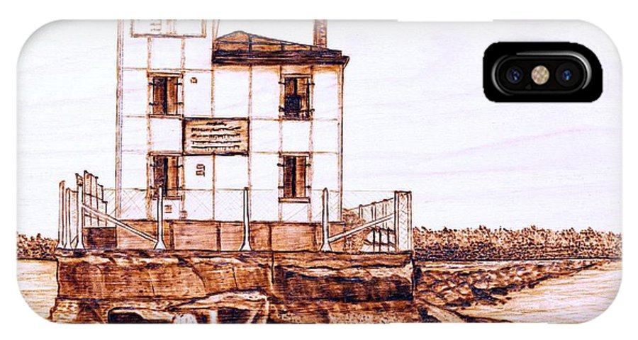 Lighthouse IPhone Case featuring the pyrography Fair Port Harbor by Danette Smith