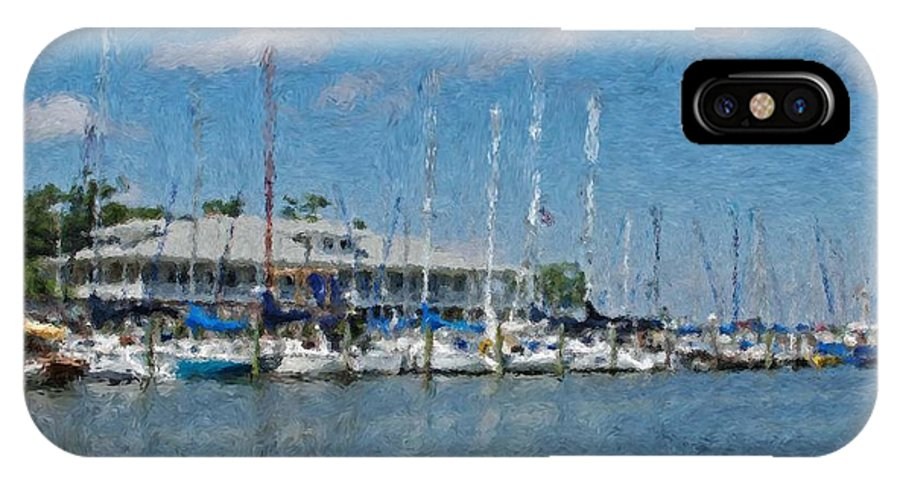 Fairhope IPhone X Case featuring the painting Fairhope Yacht Club Impression by Michael Thomas