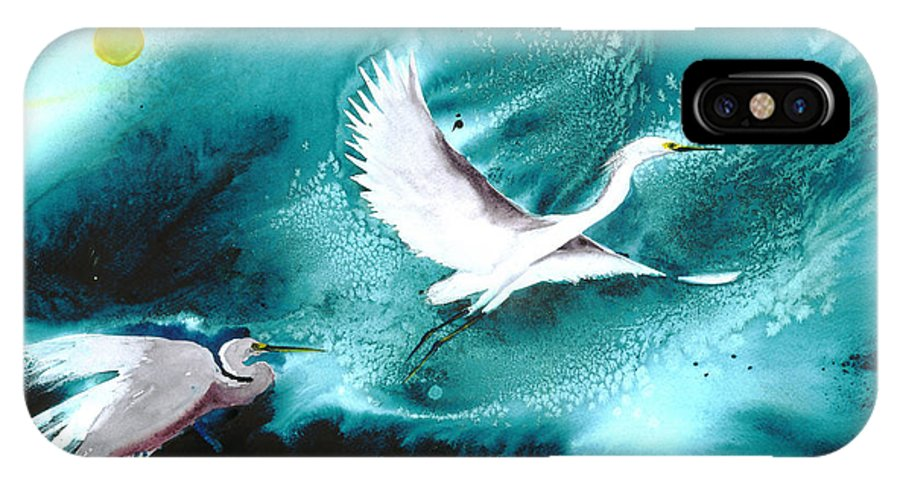 A Pair Of Egrets By The Water At Night- A Watercolor Painting IPhone X Case featuring the painting Fairies by Mui-Joo Wee