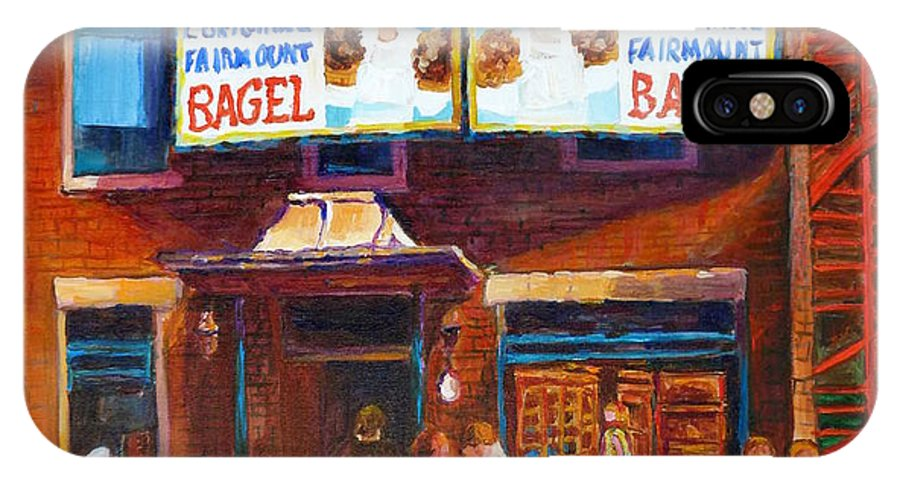 Fairmount Bagel IPhone Case featuring the painting Fairmount Bagel With Blue Car by Carole Spandau