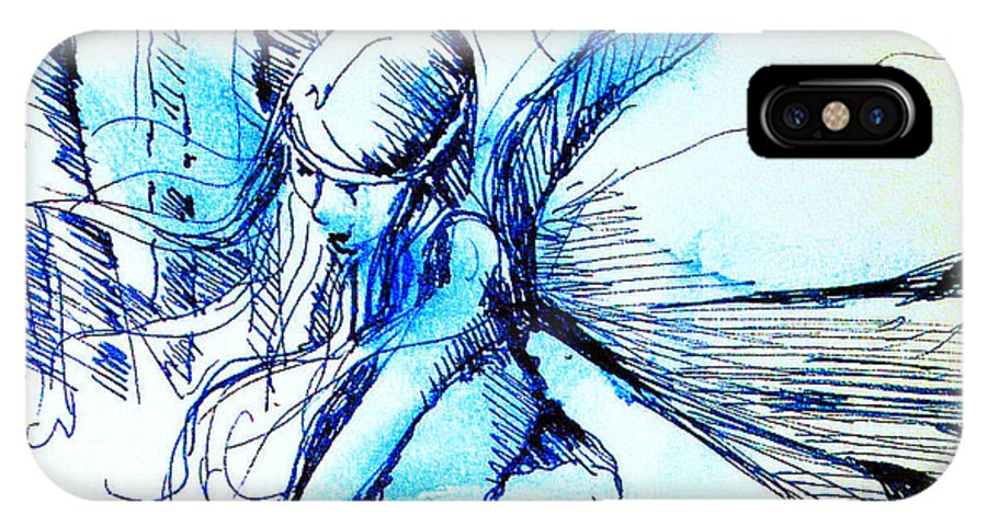 Fairy IPhone X Case featuring the drawing Fairy Doodles by Linda Shackelford