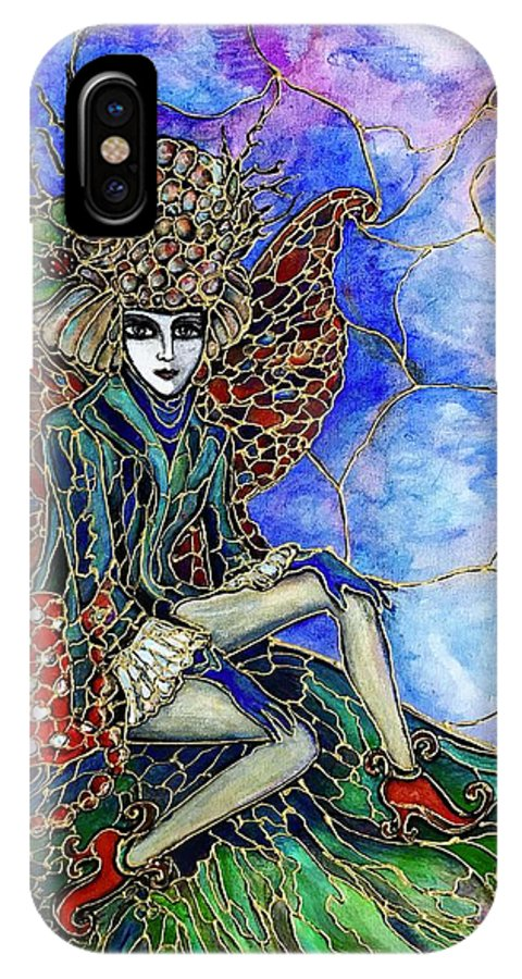 Original Painting IPhone X Case featuring the painting Fairy Fashionista by Rae Chichilnitsky