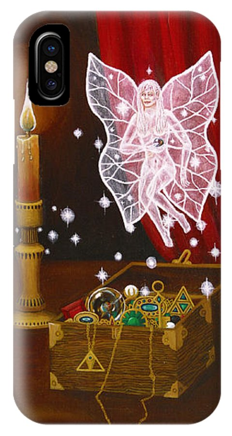 Fairy IPhone Case featuring the painting Fairy Treasure by Roz Eve